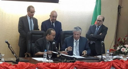 Signature d'une Convention CCIMezghena-ALGEX sous le haut patronage de Son Excellence Monsieur le Ministre du Commerce hier matin (22/04/2017).
